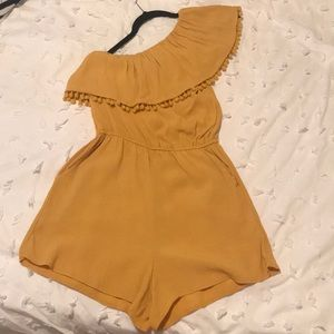 Cutest mustard yellow romper with Pom-poms